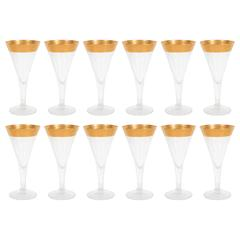 Stunning Mid-Century Set of Gold Rimmed Champagne Flutes by Dorothy Thorpe