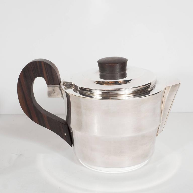 French Streamline Art Deco Silver-Plate and Macassar Coffee/Tea Service  6