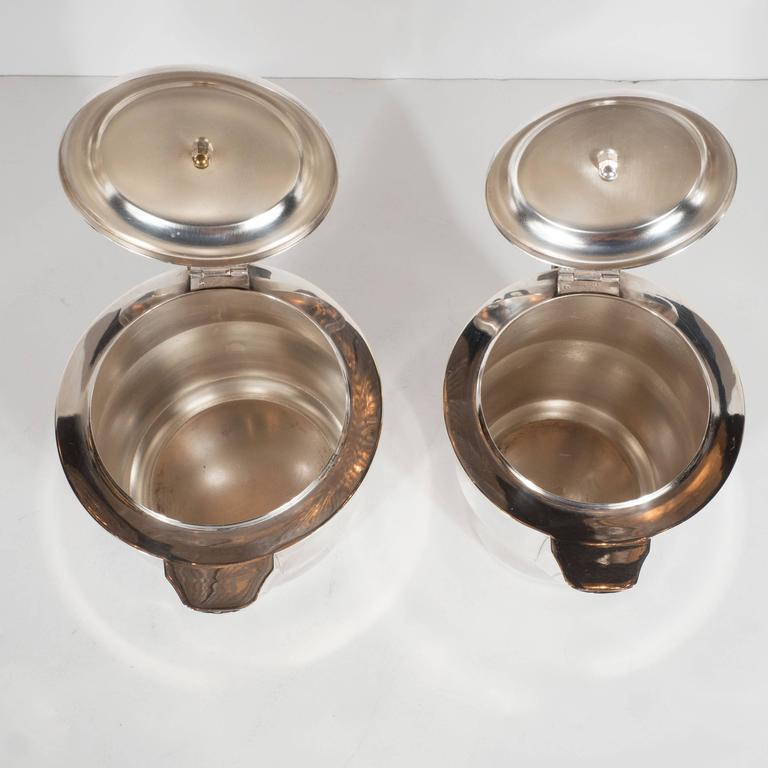 French Streamline Art Deco Silver-Plate and Macassar Coffee/Tea Service  8