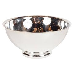 Vertigo Bowl in Silver Plate with Curved Lip and Base, Signed Christofle