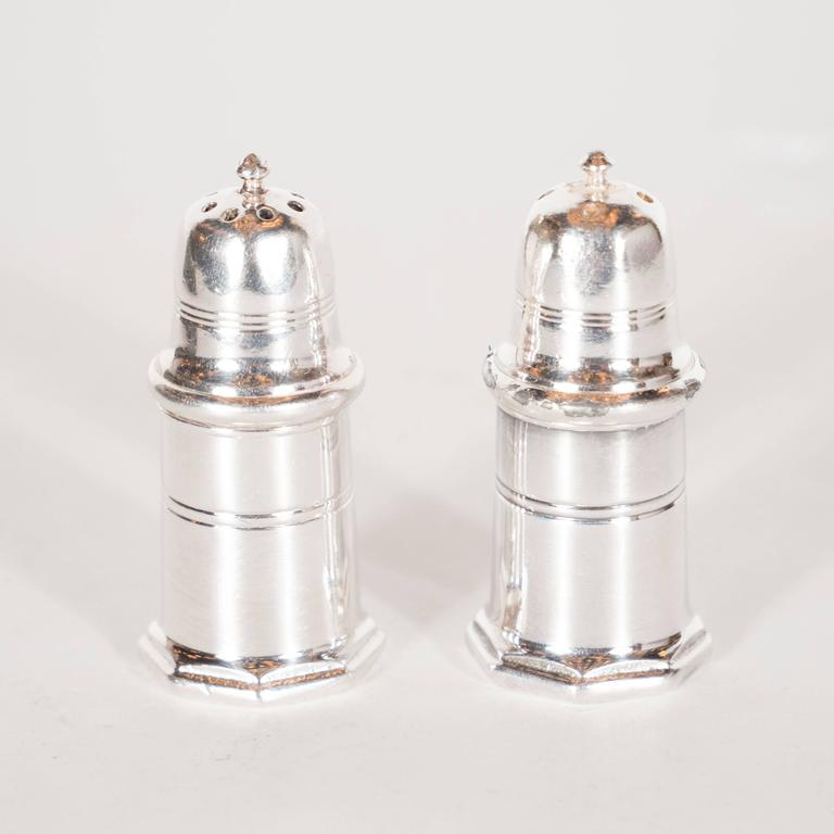 Two Pairs Of Vintage Fine Sterling Silver Salt And Pepper Shakers By