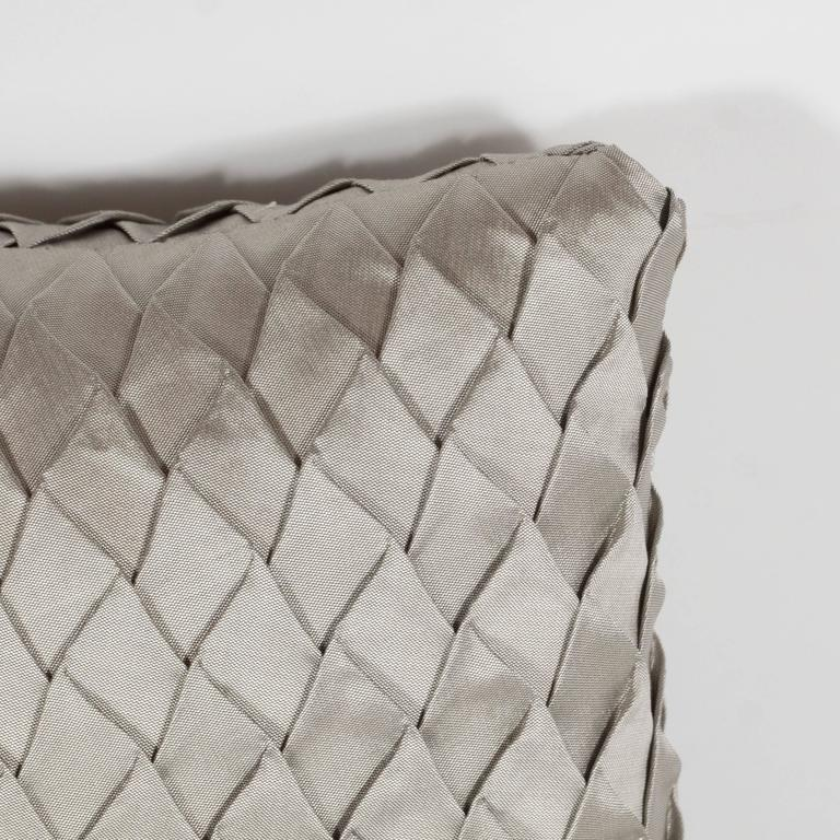 Ultra Modern Pillows : Pair of Ultra Chic New and Custom Origami Style Decorated Topaz Fabric Pillows at 1stdibs