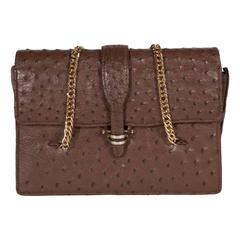 Vintage Ostrich Flap Hand Bag in Sable Hued Ostrich Skin w/ Gold Chain by Gucci