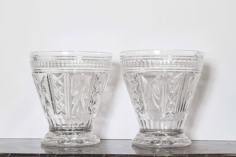 Pair Of Waterford Cut Crystal Vases Signed Quot O Leary 1998 Quot For Sale At 1stdibs