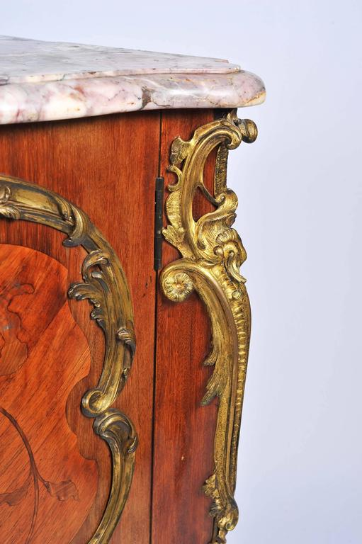 Louis XVI 19th Century, French, Kingwood Marquetry Corner Cabinet For Sale