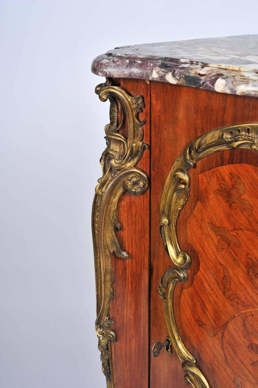 Gilt 19th Century, French, Kingwood Marquetry Corner Cabinet For Sale