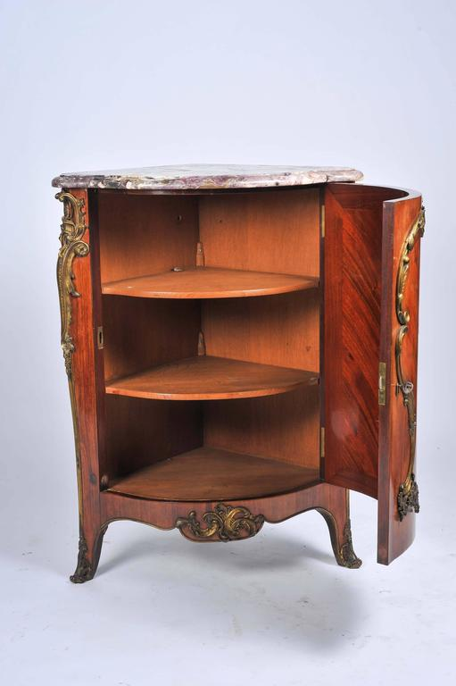 19th Century, French, Kingwood Marquetry Corner Cabinet For Sale 1