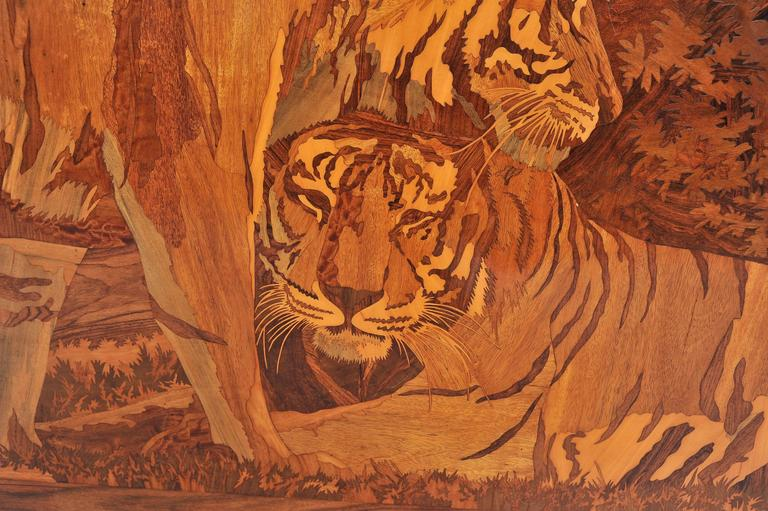 Large Art Deco Marquetry Inlaid Panel Of Tigers For Sale