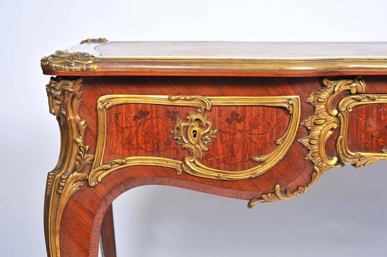 Gilt Fine Louis XV Style Bureau Plat by Zweiner For Sale