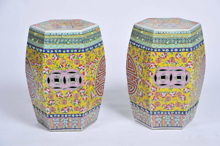 A good quality pair of 19th century Chinese Famille rose hexagonal porcelain garden seats. Having classical floral motif and pierced decoration.