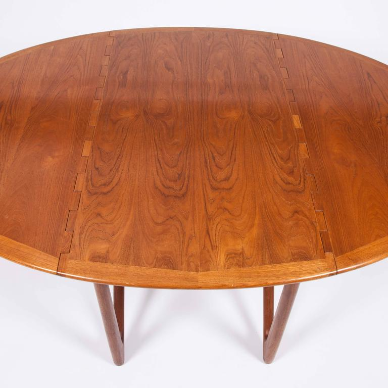 Danish Teak Drop-Leaf Dining Table by Designed by Kurt Østervig For Sale