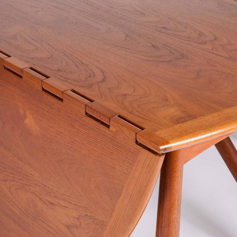 Teak Drop-Leaf Dining Table by Designed by Kurt Østervig For Sale 2