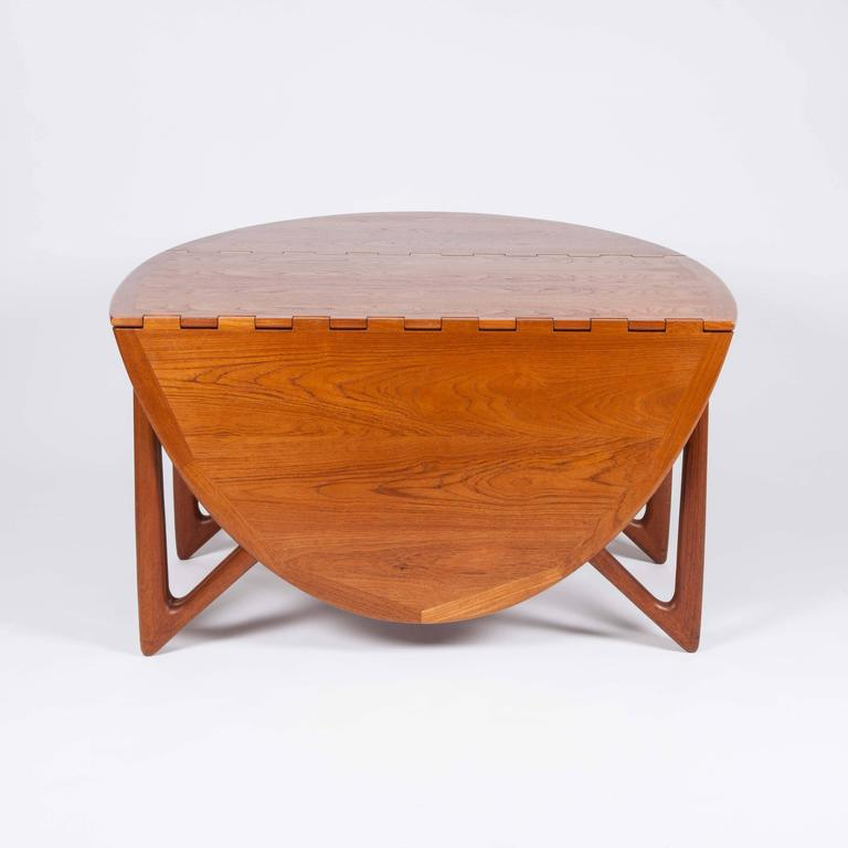 Teak Drop-Leaf Dining Table by Designed by Kurt Østervig For Sale 3