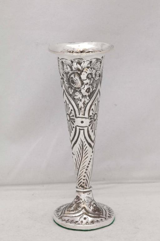 English Victorian Sterling Silver Bud Vase For Sale