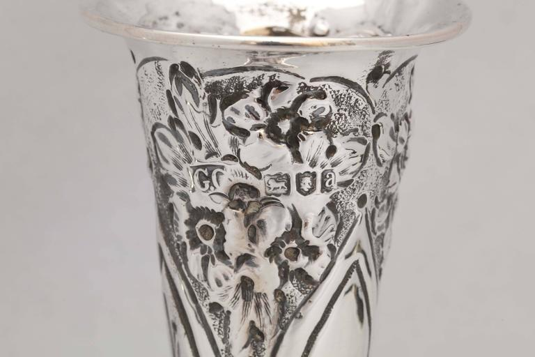 Late 19th Century Victorian Sterling Silver Bud Vase For Sale