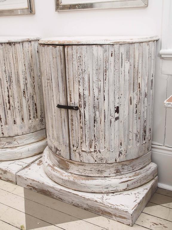 Carved Pair of Unique Vintage Column Cabinets For Sale