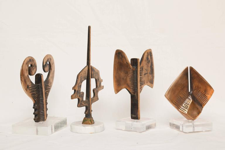 """Mid-Century Modern Abstract Bronze Sculptures Signed, """"Tribal-Symbols"""" 6"""