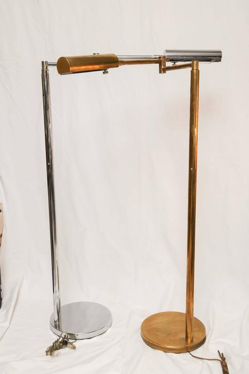 Mid-Century Modern American Koch & Lowy Brass and Chrome Swing Arm Floor Lamp 5