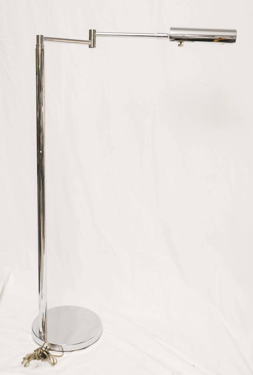 Mid-Century Modern American Koch & Lowy Brass and Chrome Swing Arm Floor Lamp 6