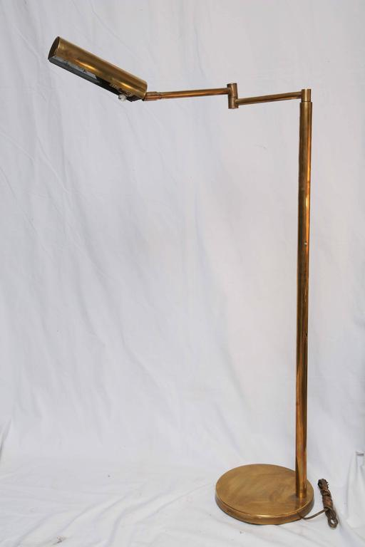 Mid-Century Modern American Koch & Lowy Brass and Chrome Swing Arm Floor Lamp 11
