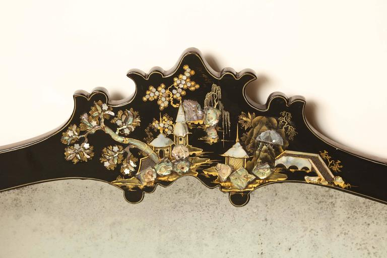 Mid-19th century Japanese lacquer and mother-of-pearl inlay overmantel mirror.