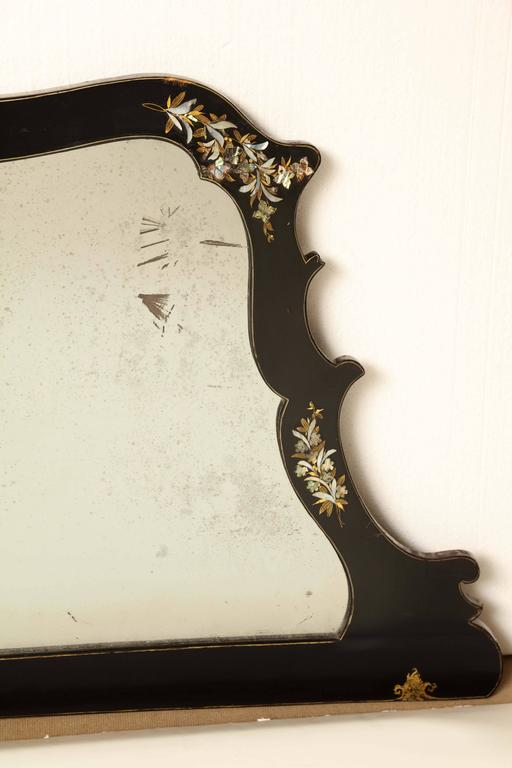 Mother-of-Pearl Mid-19th Century Japanese Lacquer and Inlay Overmantel For Sale