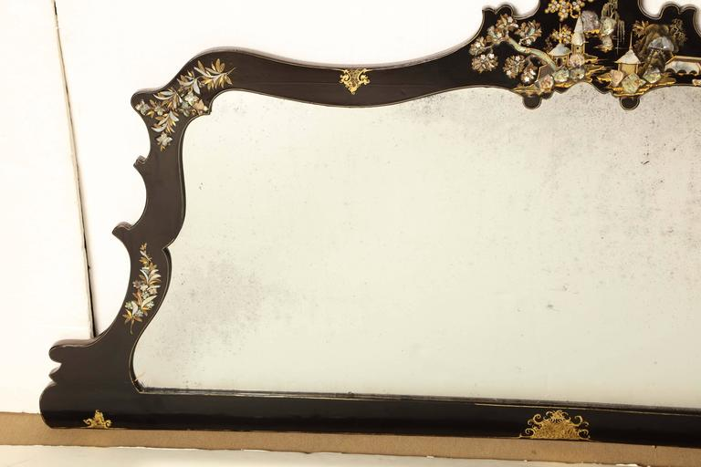Mid-19th Century Japanese Lacquer and Inlay Overmantel For Sale 2