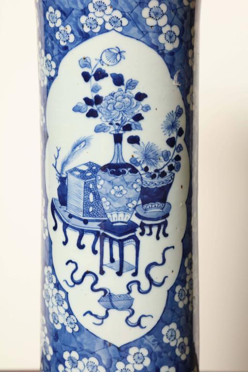 19th century Japanese blue and white cylinder vase.
