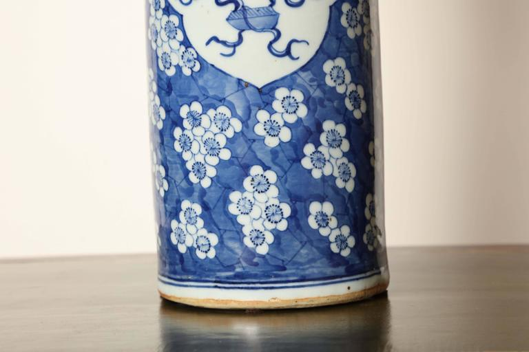 19th Century Japanese Blue and White Cylinder Vase In Good Condition For Sale In New York, NY