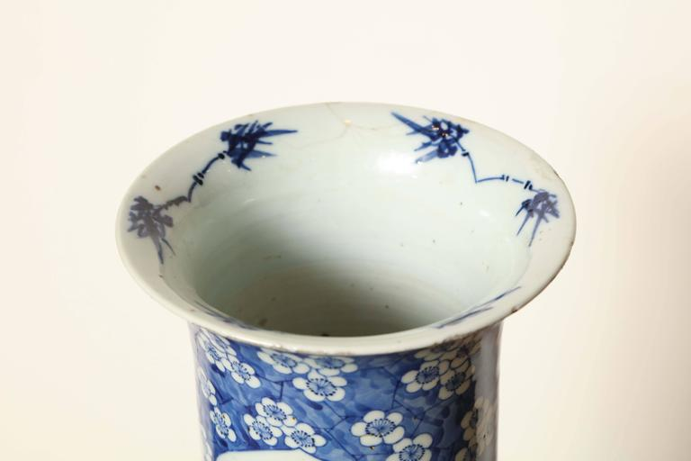 19th Century Japanese Blue and White Cylinder Vase For Sale 1