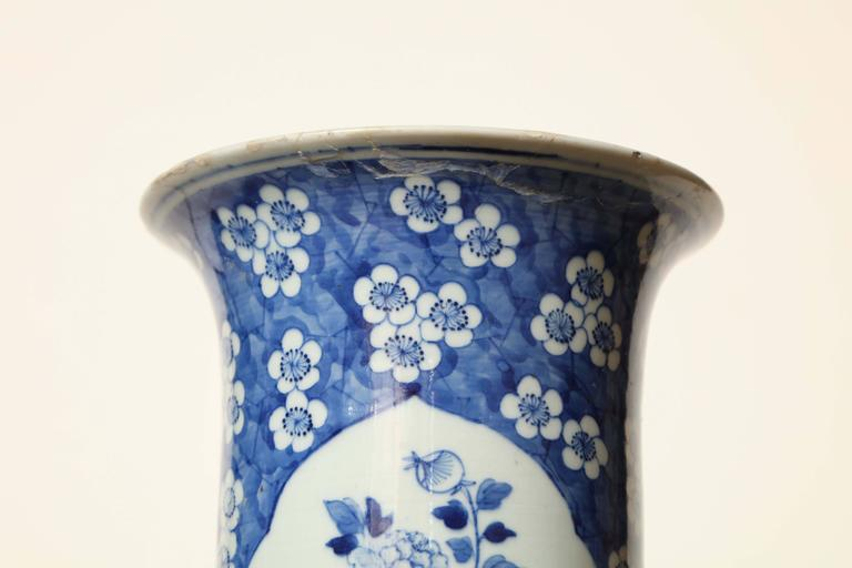 19th Century Japanese Blue and White Cylinder Vase For Sale 5