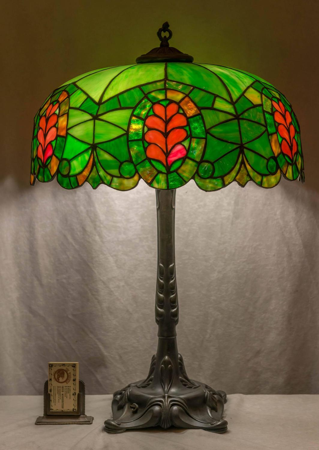 Leaded Glass Thistle Lamp Chicago Mosaic Company For Sale