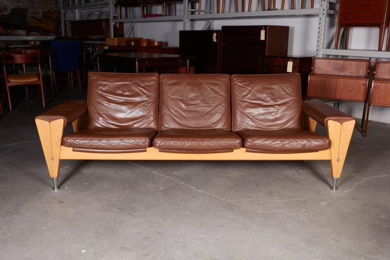 Mid Century Brown Leather Sofa by Hans Wegner 2