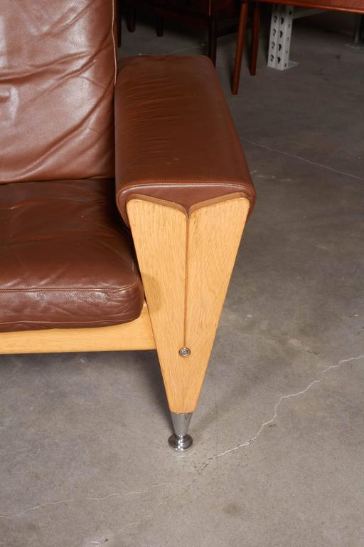 Mid Century Brown Leather Sofa by Hans Wegner 3