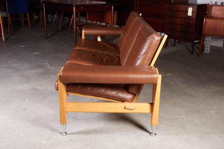 Mid Century Brown Leather Sofa by Hans Wegner 6