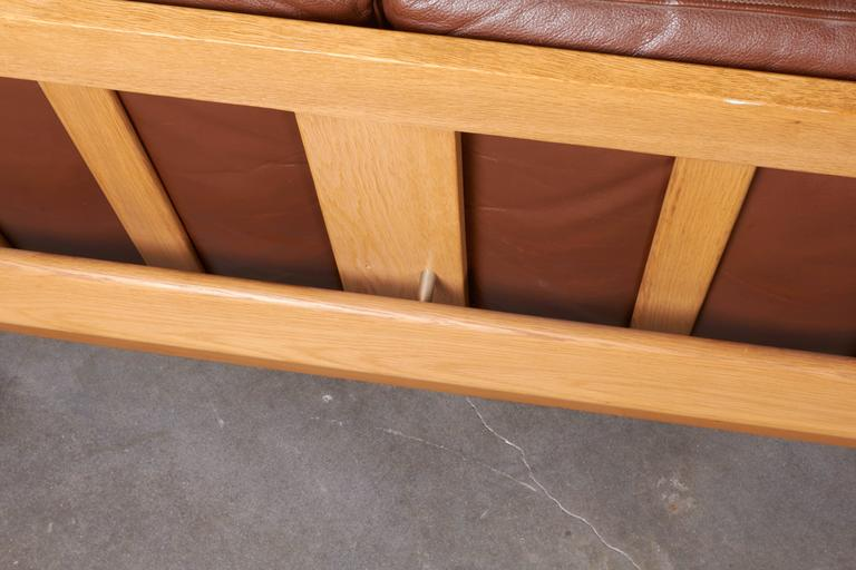 Mid Century Brown Leather Sofa by Hans Wegner 9