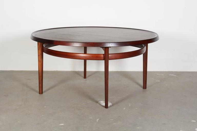 Vintage 1960s Round Rosewood Coffee Table by Torbjørn Afdal