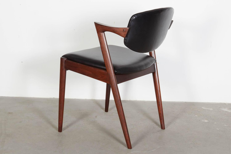 Kai kristiansen black leather dining chairs set of eight for Black leather dining chairs for sale