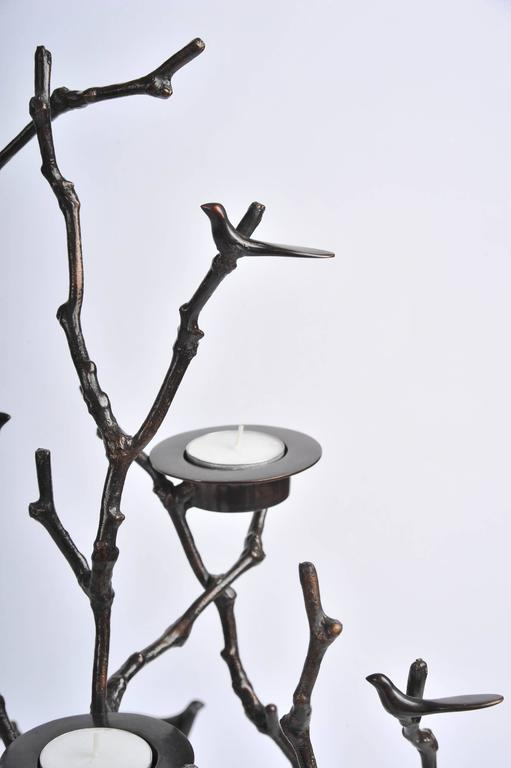 Indian Bronze Magnolia Twigs Candle Holder  For Sale