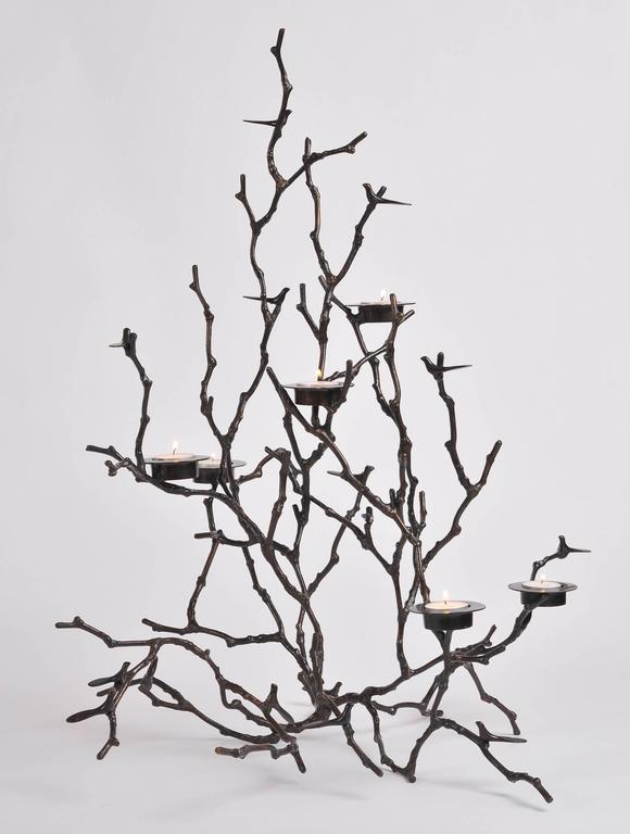 Bronze Magnolia Twigs Candle Holder  In Excellent Condition For Sale In London, GB