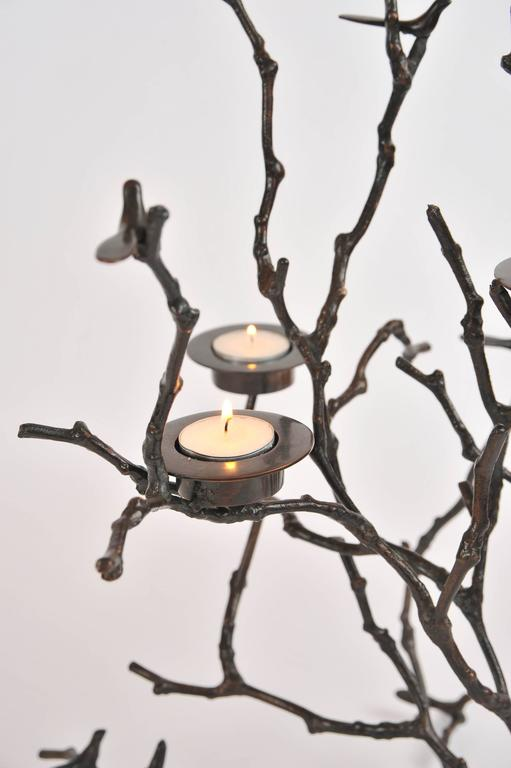 Contemporary Bronze Magnolia Twigs Candle Holder  For Sale