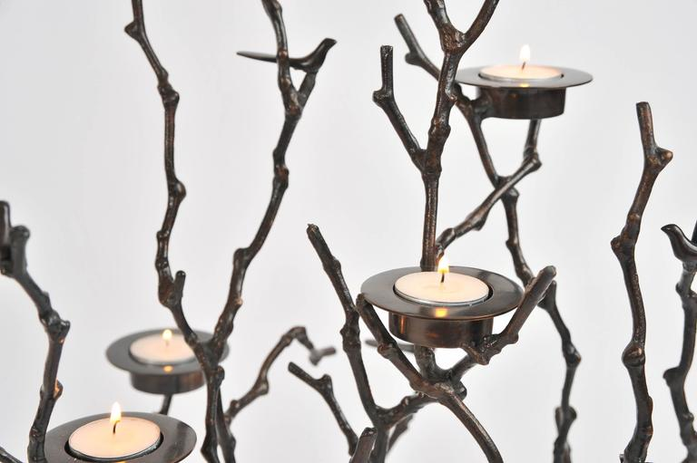Bronze Magnolia Twigs Candle Holder  For Sale 1