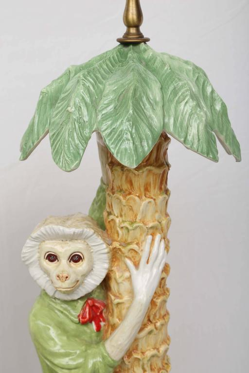 pair of majolica monkey table lamps for sale at 1stdibs. Black Bedroom Furniture Sets. Home Design Ideas