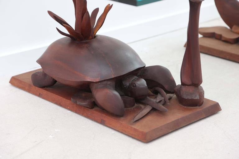 Hand Carved Turtle Table With Glass Top For Sale At 1stdibs
