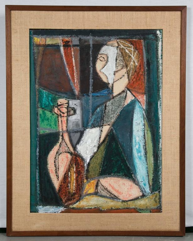 Rare Mid-Century Modern Painting of Cubist Woman