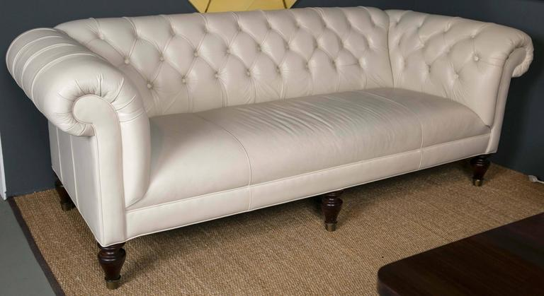 Cream Leather Chesterfield Sofa Great Condition And Very Comfortable.