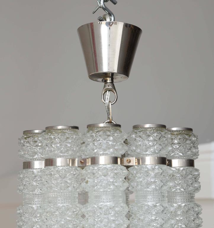 Swedish Orrefors Chrome and Crystal Pendant Fixture Mid-20th Century For Sale