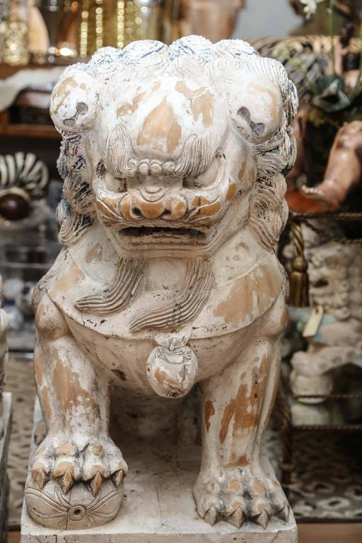20th Century Pair of Carved Wood Painted Foo Dogs For Sale