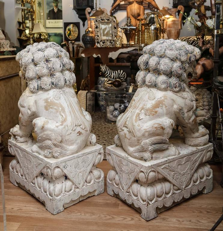 Pair of Carved Wood Painted Foo Dogs For Sale 1