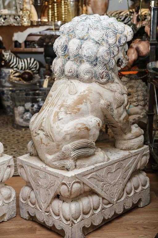Pair of Carved Wood Painted Foo Dogs For Sale 2
